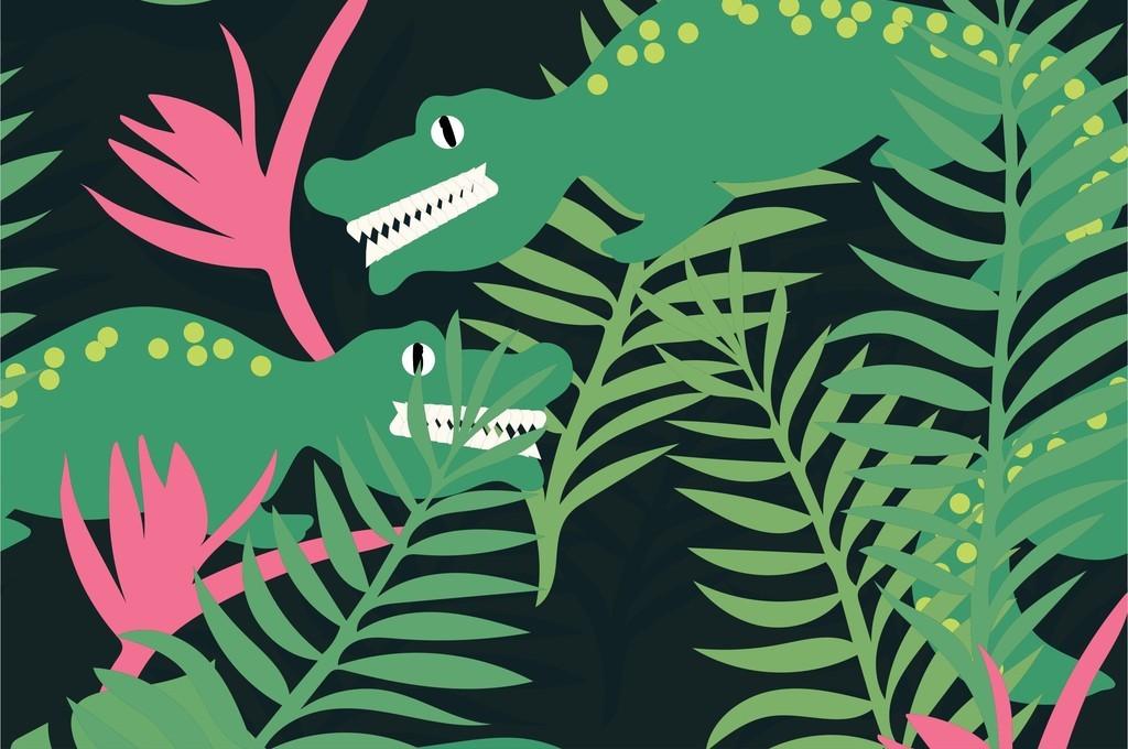 卡通动物鳄鱼植物花卉叶子时尚女装面料图案
