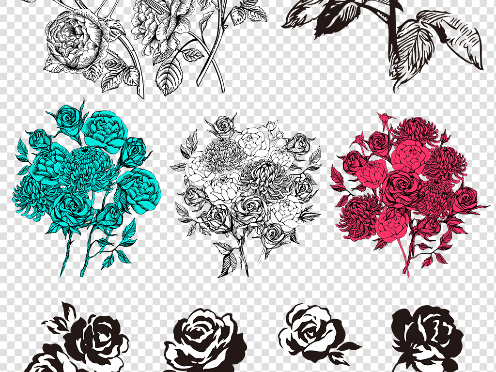 手绘素材玫瑰素材花卉png免扣图片素材