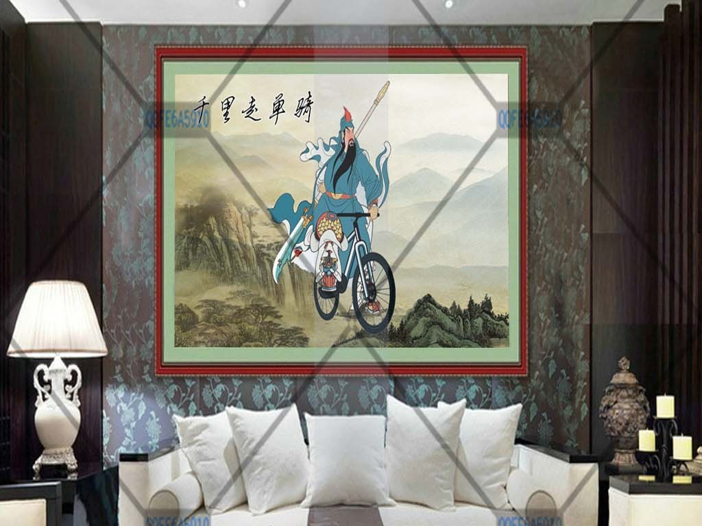 手绘水墨山水古风古代人物千里单骑装饰画