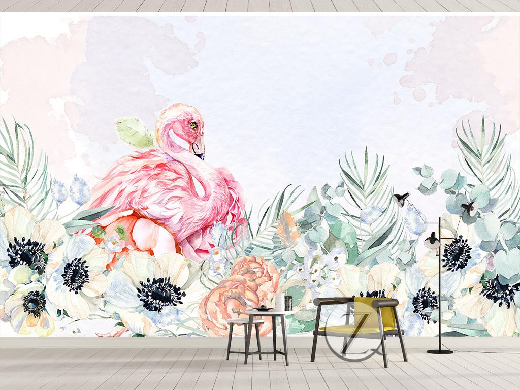 北欧简约手绘火烈鸟花卉背景墙