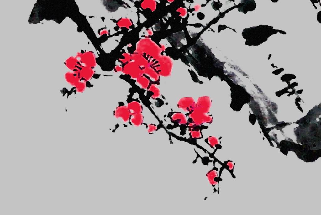 水墨画工笔画手绘国画新中式中式风格梅花梅花树树树干树枝花卉白梅花