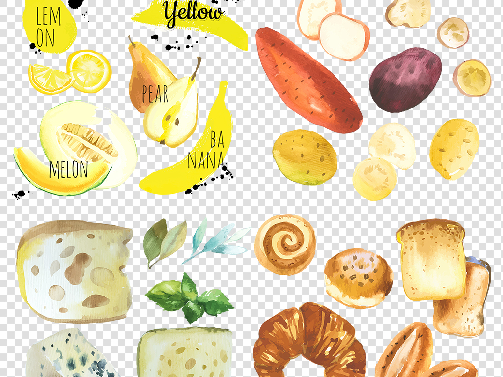 背景彩绘食物手绘食物水彩食物素材食物食物素材蔬果图片素材鱼肉png