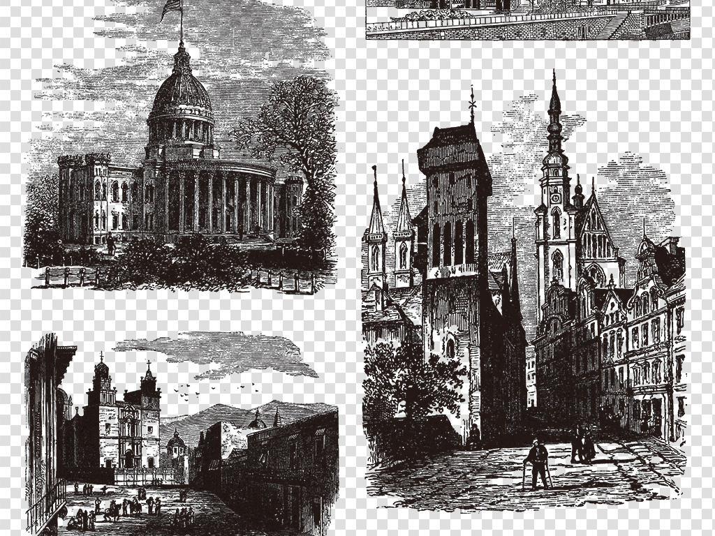 素描建筑绘画复古绘画                                  黑白建筑