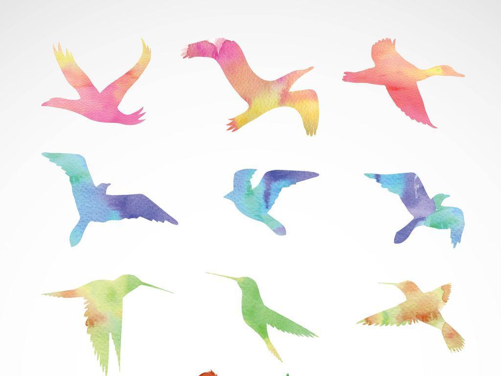 设计元素 背景素材 其他 > 多款彩色飞鸟矢量图  版权图片 设计师