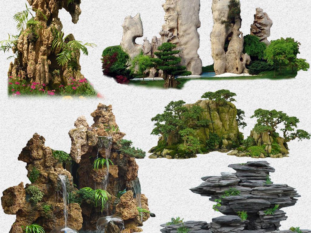 风景园林公园景区假山png免抠设计素材