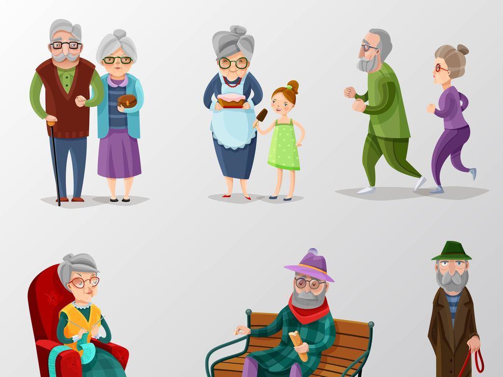 多款卡通人物老年人健康矢量图