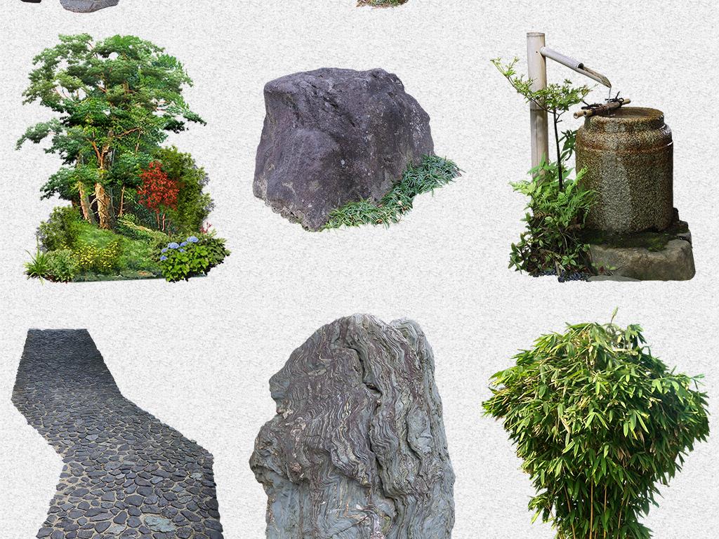 风景石头草坪假山树木园林png免抠素材