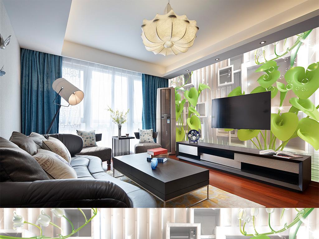 3d立体兰花室内客厅琉璃电视背景墙