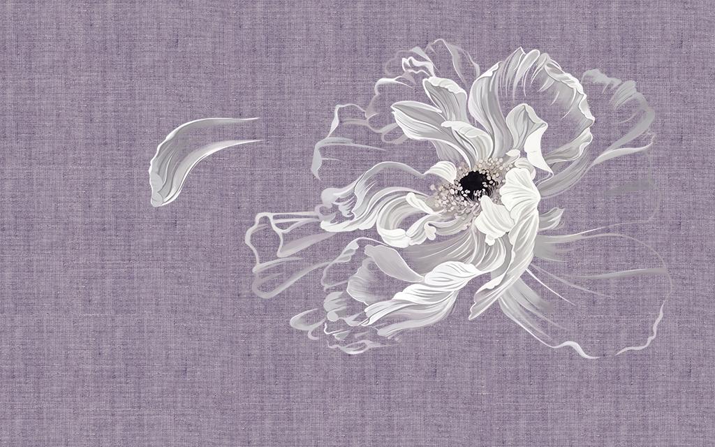 新中式手绘白莲花壁画背景墙