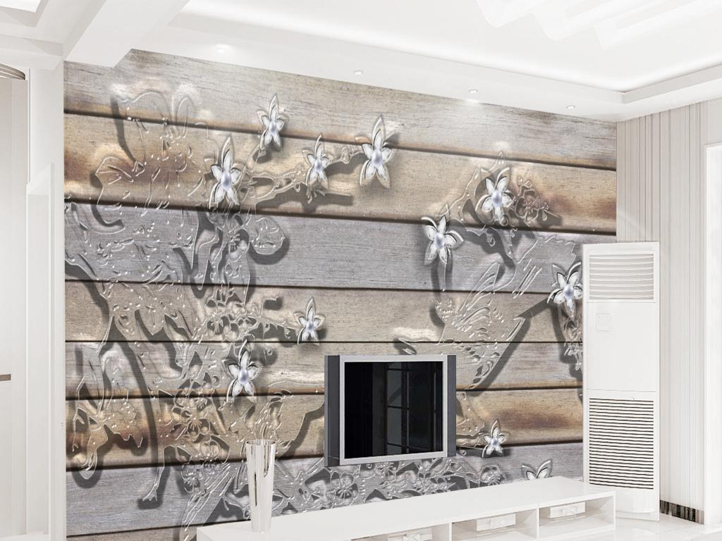 现代简约新中式旧木板复古水晶透明珠宝背景墙图片