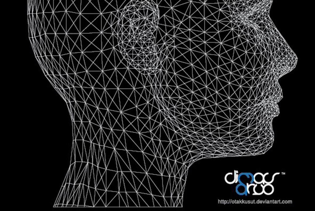 科技人头线条三维立体大脑线描