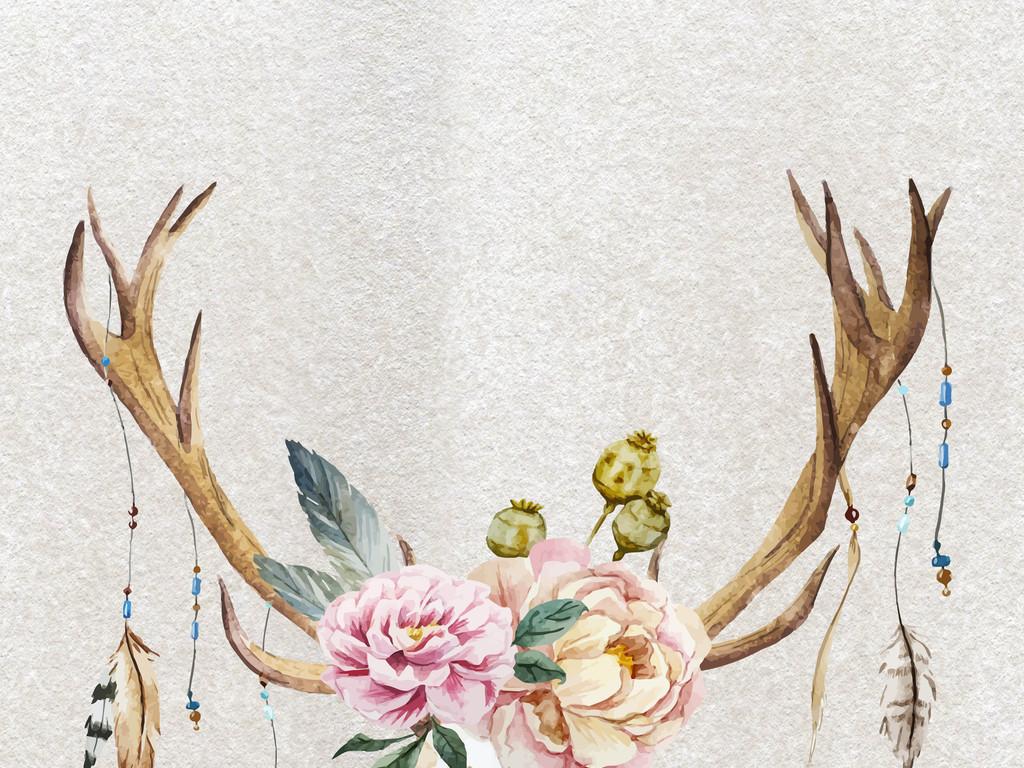 欧式抽象无框画北欧装饰画手绘动物装饰画