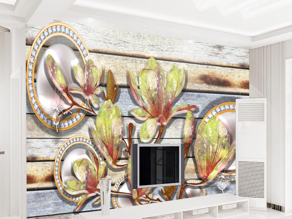 现代简约新中式旧木板复古裂纹珠宝背景墙图片