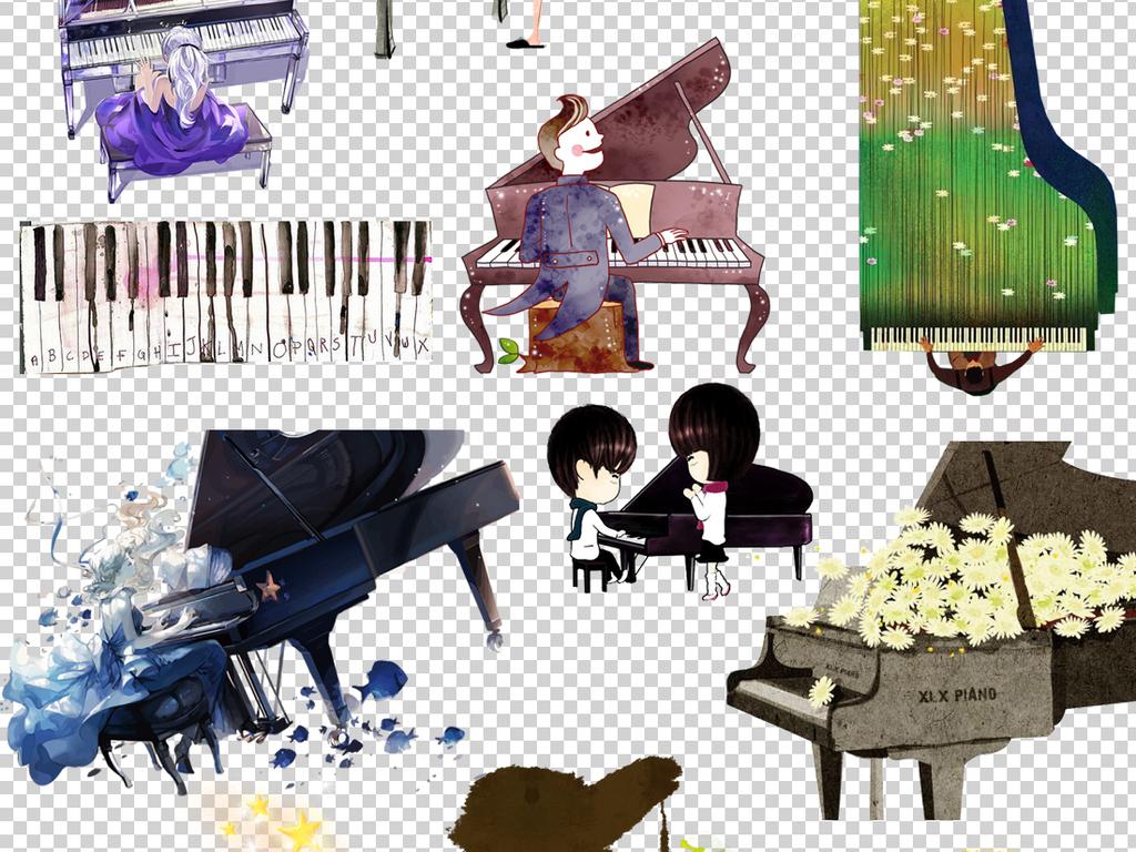 45款手绘钢琴培训元素png透明背景免扣素材