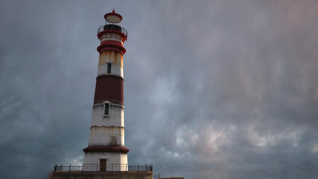 海上老旧的灯塔建筑3d模型的渲染材质灯光