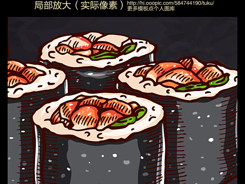 黑板手绘可爱寿司店背景墙