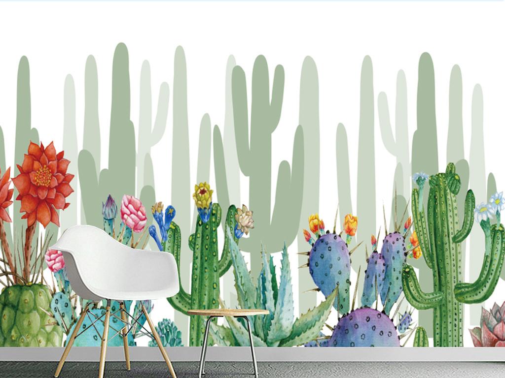 北欧抽象手绘仙人掌装饰背景墙(无限拼接)