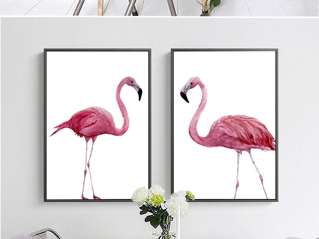 手绘小清新北欧装饰画火烈鸟粉色无框画