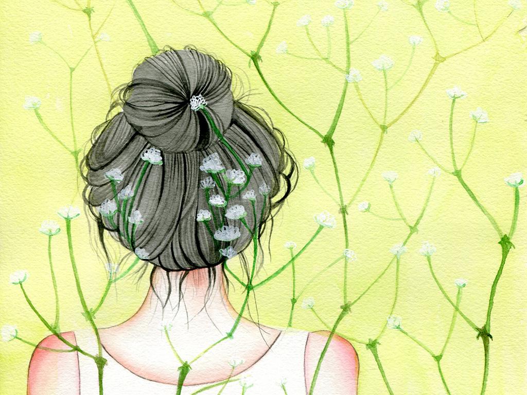 手绘花丛少女人物背影小清新无框画装饰画