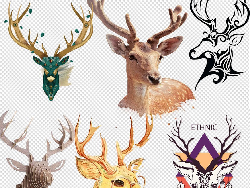 设计元素 自然素材 动物 > 手绘水彩鹿头麋鹿小鹿创意艺术素材  手绘