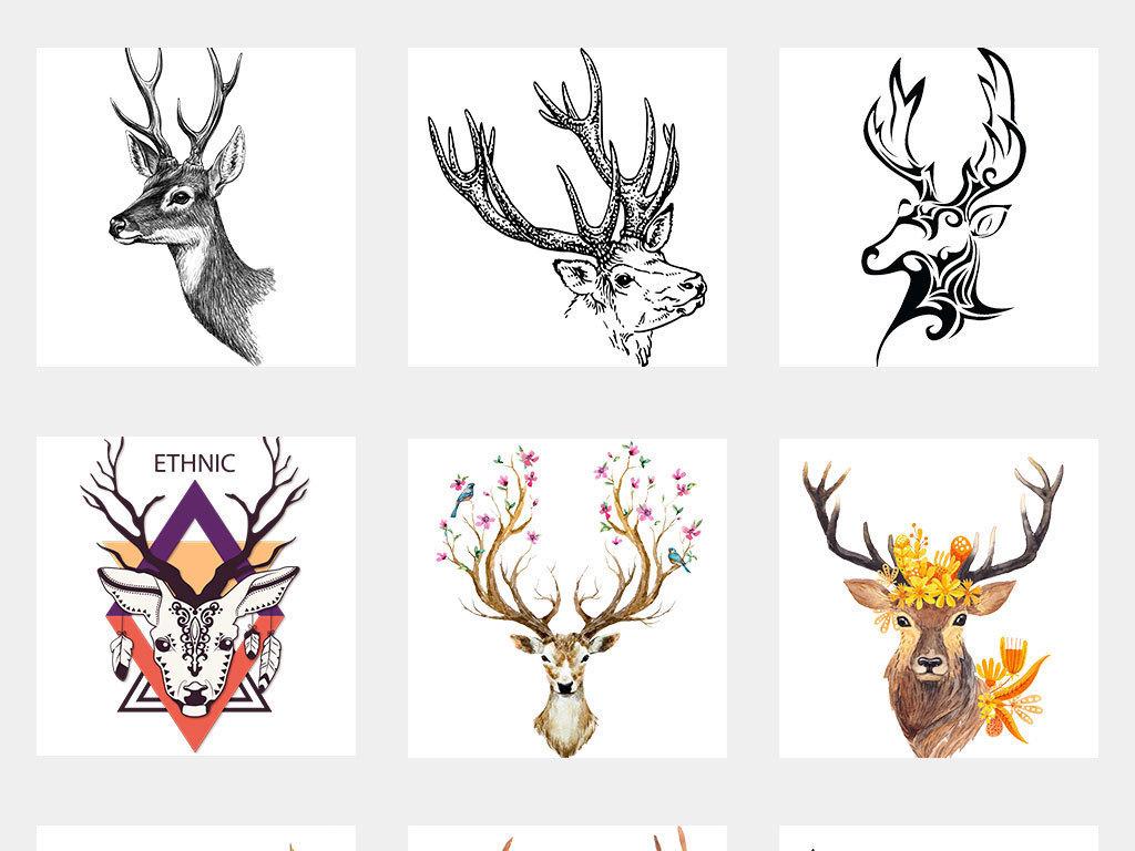 手绘水彩鹿头麋鹿小鹿创意艺术素材