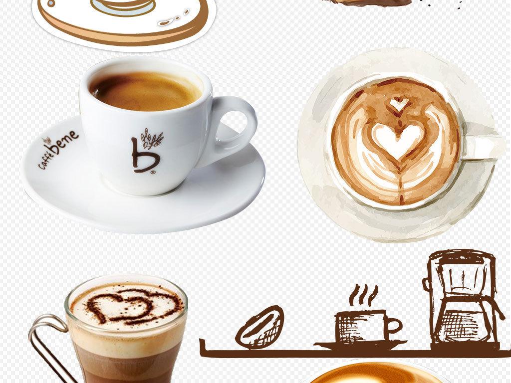 咖啡杯咖啡豆创意海报png素材