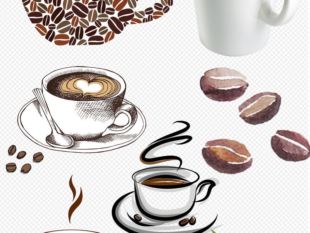 咖啡杯咖啡豆创意海报png素材图片