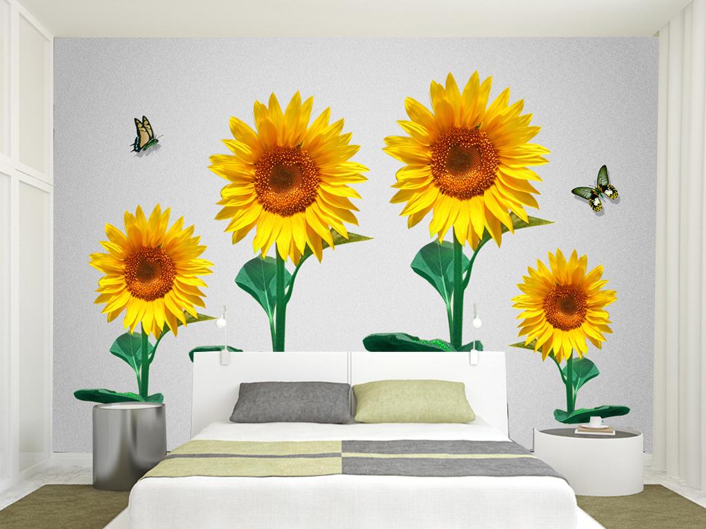 高清欧式手绘向日葵电视背景墙装饰画