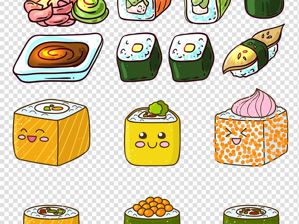 手绘寿司彩绘寿司素材日式寿司食物日式寿司图片素材料理卡通食物卡通
