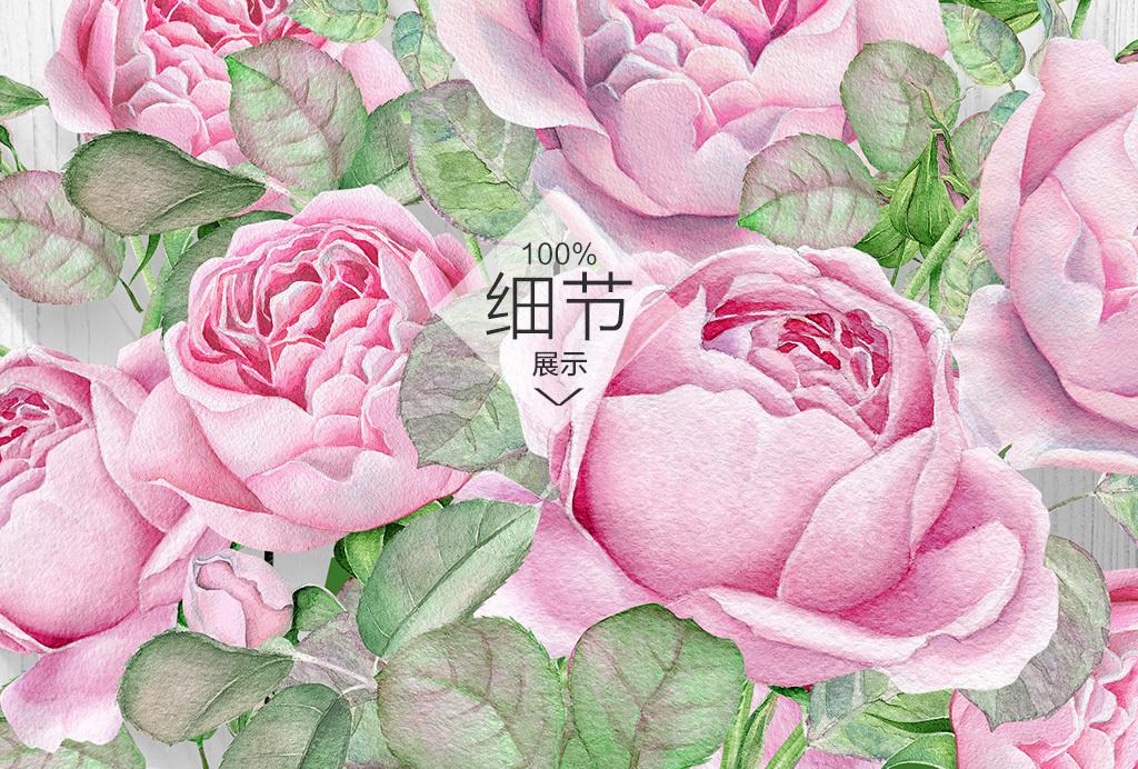 欧式手绘玫瑰花卉木板背景无框装饰画
