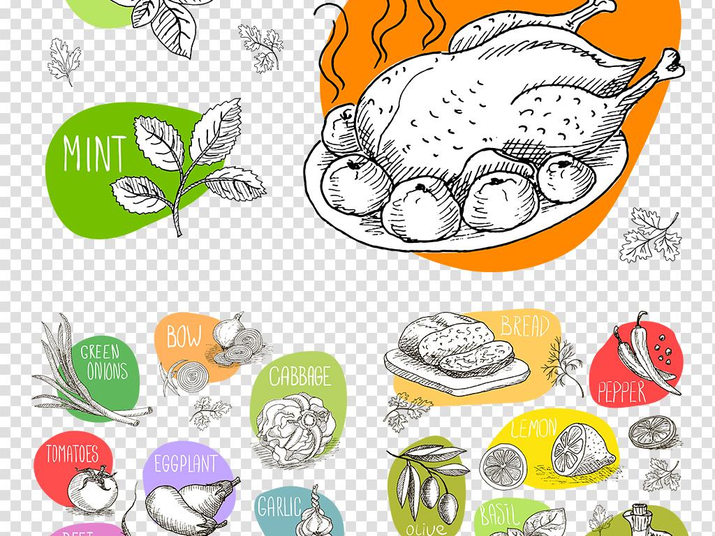 食品素材手绘食物西点png免扣图片素材