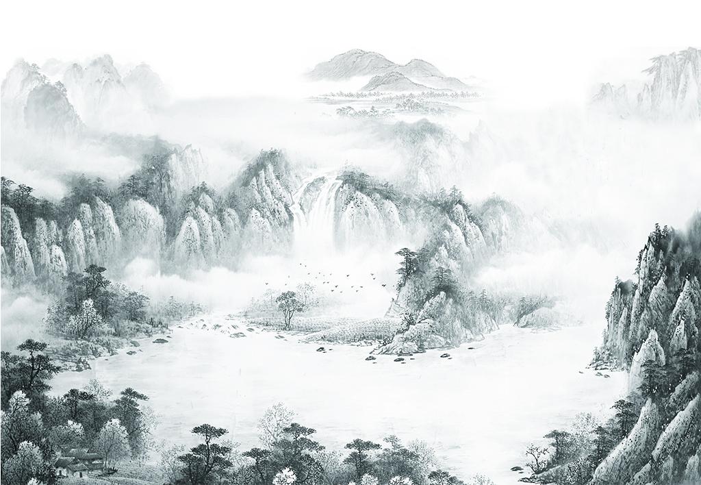 新中式山水风景水墨画聚宝盆背景墙(不分层