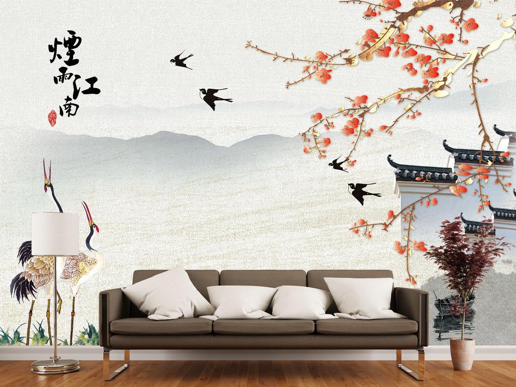 新中式手绘花鸟山水风景烟雨江南背景墙