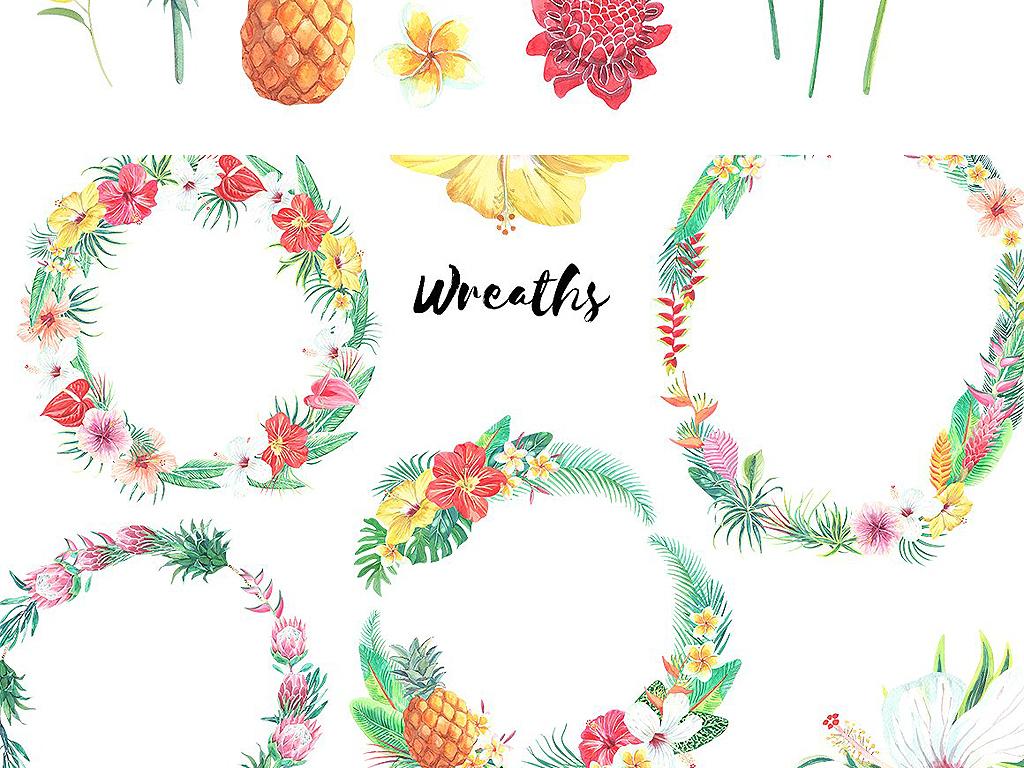 热带植物花卉叶子海报请柬邀请函设计素材下载,作品模板源文件可以