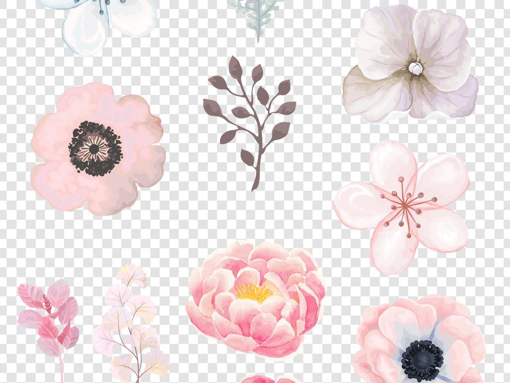 卡通手绘水彩花朵花瓣png海报素材