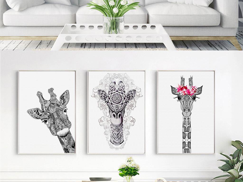黑白北欧手绘简约动物麋鹿三联装饰画