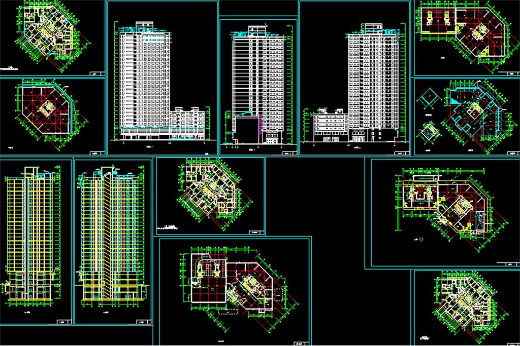 高层住宅cad平面设计图