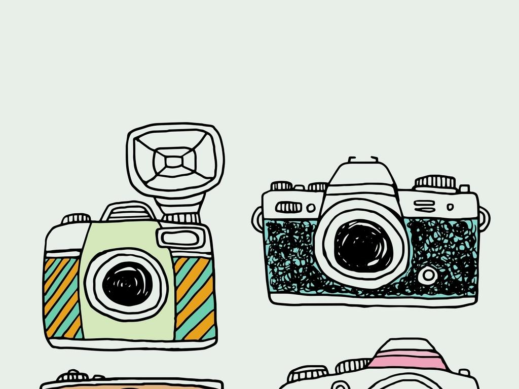 相机                                  手绘相机男装t恤