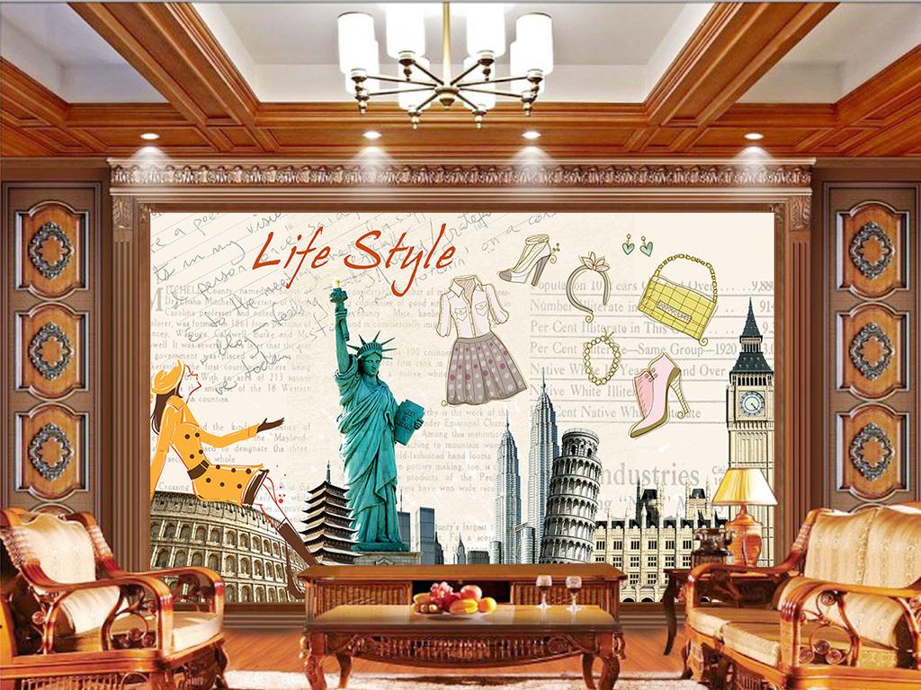 时尚欧式美式特卖场服装店背景墙壁画图片