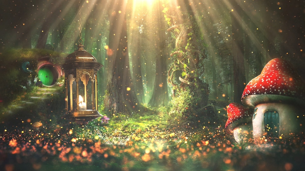 视频素材 背景视频 晚会演艺 > 梦幻森林童话小屋魔幻仙境背景
