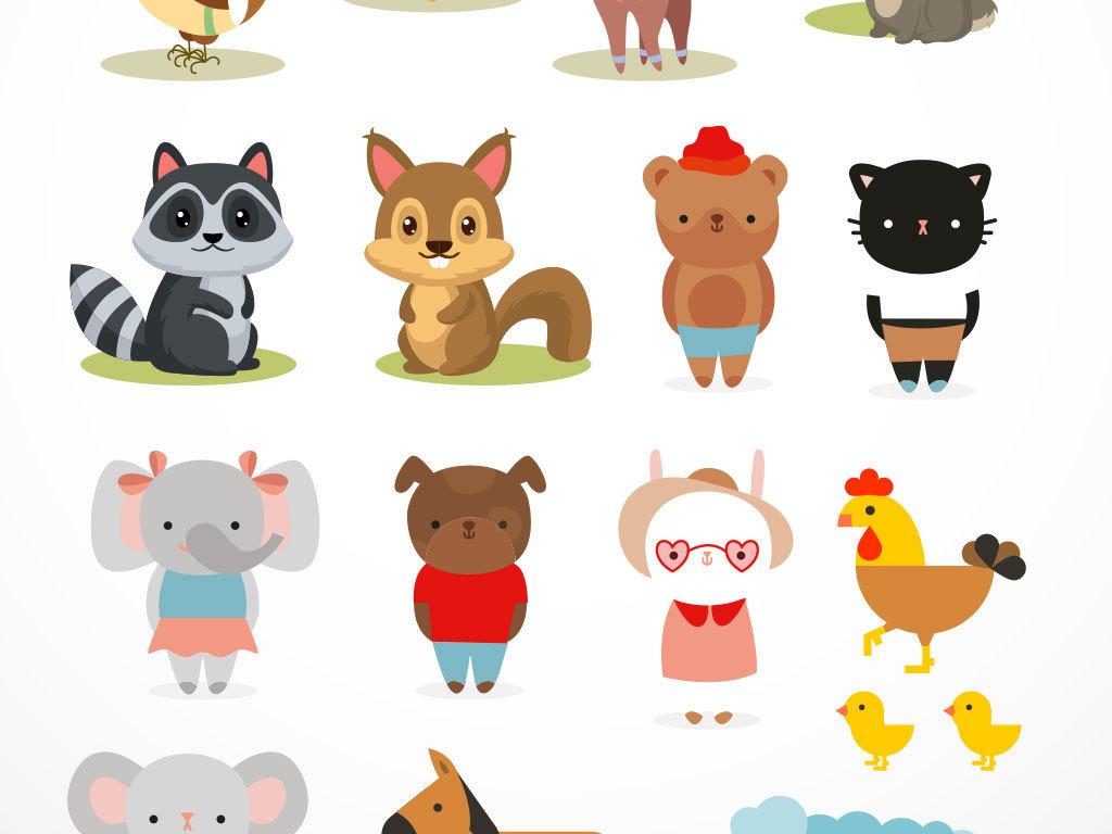 动物无框画抽象图案设计素材卡通小动物卡通动物素材动物卡通卡通动物