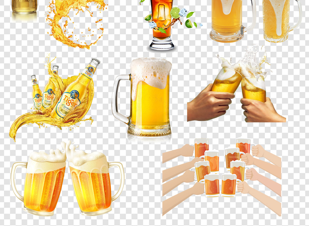 卡通手绘啤酒png海报素材
