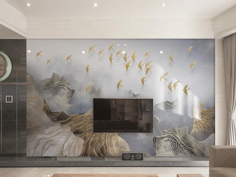 新中式抽象意境山水金色线条飞鸟电视背景墙