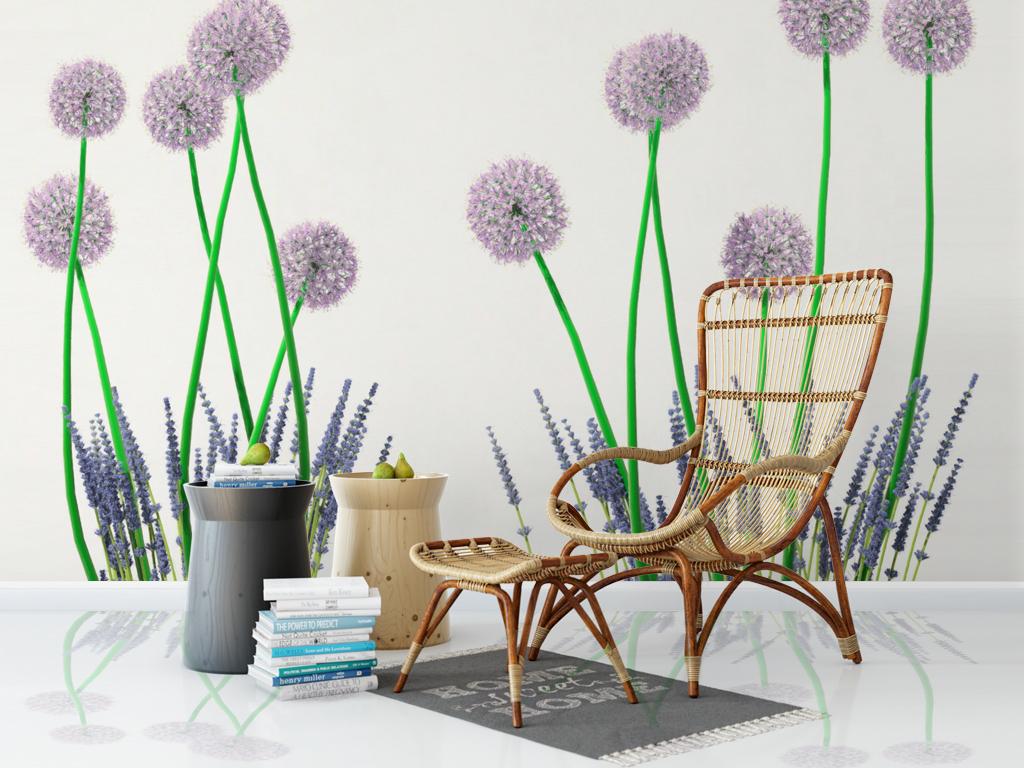 北欧蒲公英花卉植物清新背景墙
