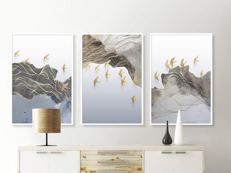 飞鸟新中式抽象意境山水线条装饰画无框画