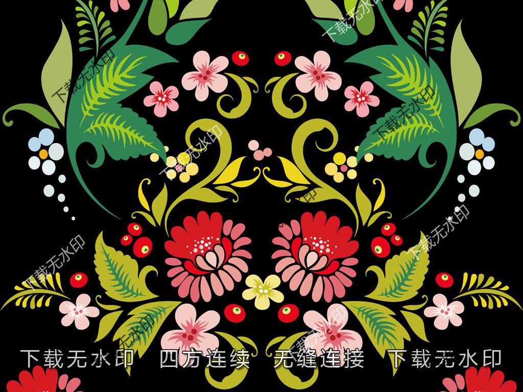 时尚数码印花服装面料花型设计手绘花纹图案