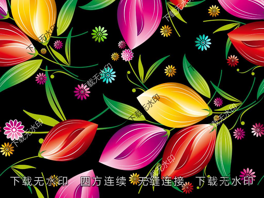 纺织印花面料真丝印花手绘