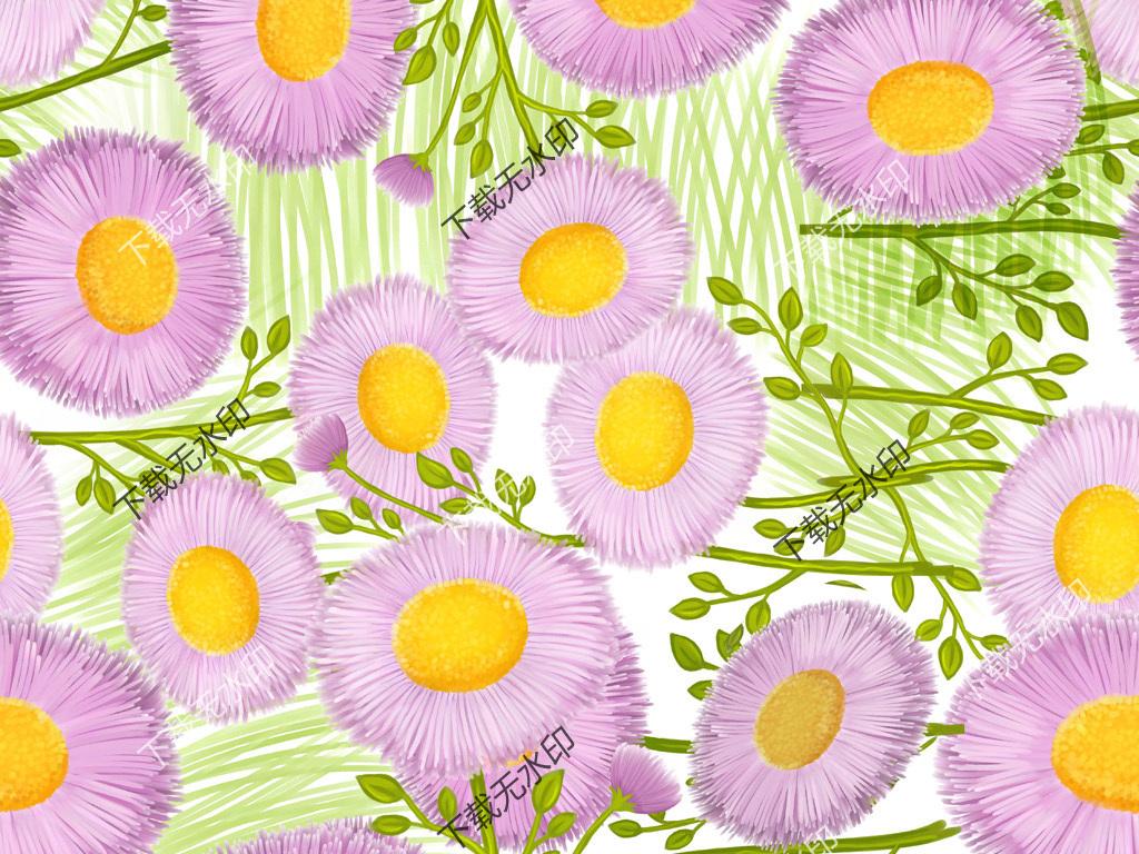 时尚手绘花卉图案数码印花服装面料花型设计
