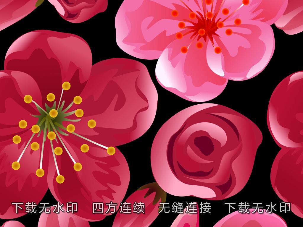 手绘矢量梅花图案数码印花面料印花花型设计