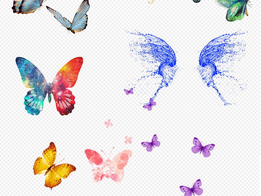 设计元素 自然素材 动物 > 手绘蝴蝶彩色飞翔蝴蝶草地踏青创意  版权